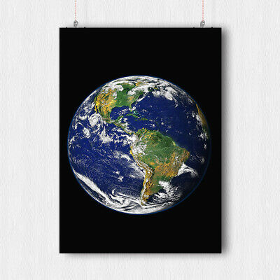 Planet Earth Poster The World From Space Wall Art Print A3 A4 Size