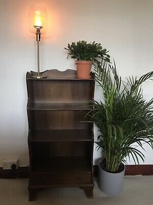 Dark Oak Stained Wooden Bookcase with Drawer Mid Century