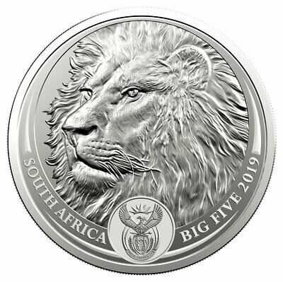 2019 South Africa 1 oz Silver R5 Big 5 Lion GEM BU In Blister Pack SKU59352