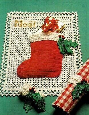 Doily /& Napkin Ring ~ Christmas Table Crochet Pattern Only ~ Angel Dining Decor