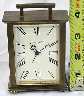 Vintage Suiza Sheffield Swiss made 8-day Wind-Up Alarm Carriage Clock Brass Case