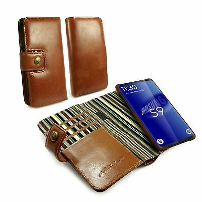 Alston Craig Genuine Leather Magnetic Shell Wallet Case for Galaxy S9 - Brown