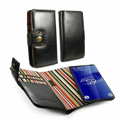 Alston Craig Genuine Leather Magnetic Wallet Case for Galaxy S9 Plus - Black