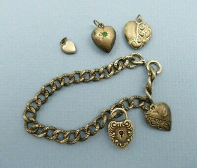 """Antique Puffy Hearts Sterling Silver 7"""" Embossed Link Charm Bracelet"""