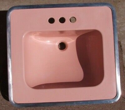 1953 Pink Vitreous China Sink W/Chrome Mounting Ring