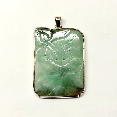 Antique Chinese Carved Moss In Snow Natural Jadeite Jade 14k Yellow Gold Pendant