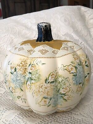 Hand Painted Pumpkin Fall Halloween Yellow Cottage Chic Hydrangeas Shabby Lace