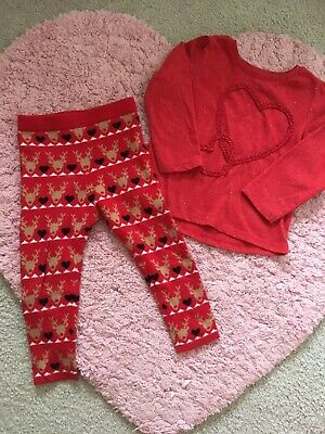 Nutmeg Primark Red Top And Knitted Christmas Leggings Age 3-4