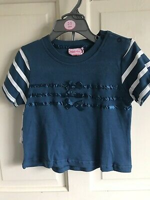 BNWT Mini Moi 2 Piece Set/ Outfit. Girls. Navy- White. Age 12 Months - 3 Years.
