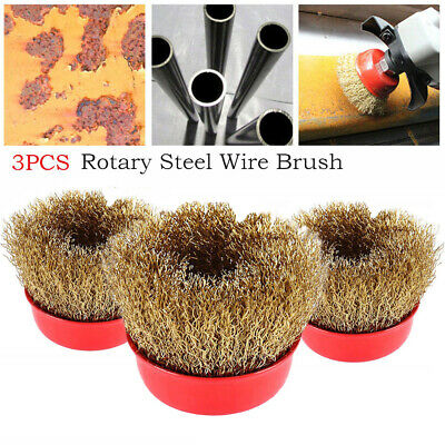 3* 65mm Rotary Brass Steel Wire Brush Crimp Cup Set Kit Wheel Angle Grinder M14