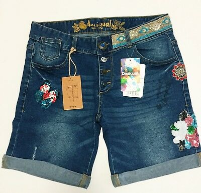 Desigual Women's Embroidery Denim Jeans Shorts Size 31, USA 7, UK 13,  BNWT