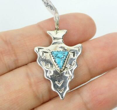 Native American Sterling Silver Natural Turquoise Small Arrowhead Pendant #2
