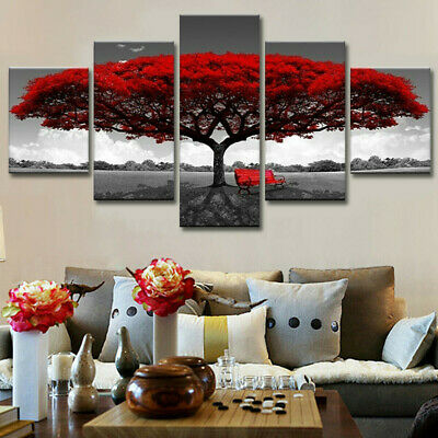 5pcs Modern Red Tree Art Canvas Painting Poster Print Home Wall Decor Unframed
