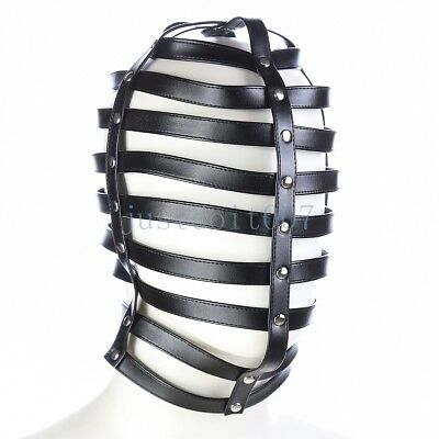 Faux Leather Soft Hood Hollow Mask Headgear head Harness Slave Bondage roleplay