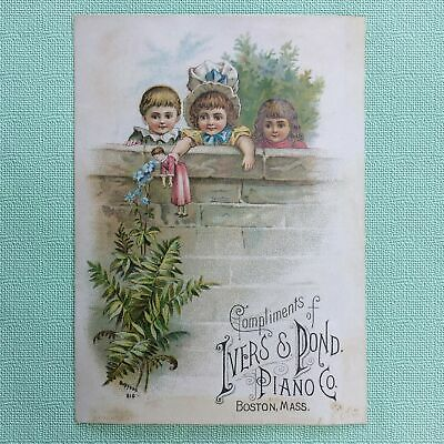 1883 Chromolithograph Trade Card, Cute Kids, Advertising Ivers & Pond Pianos