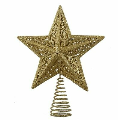 "Star Tree Topper Large Gold Glitter Cut Out Wire Christmas Metal 10"" Kurt Adler"