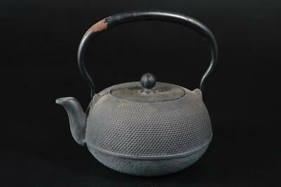 T7242:Japanese Iron Arare pattern TEA KETTLE Teapot Tetsubin, auto Tea Ceremony