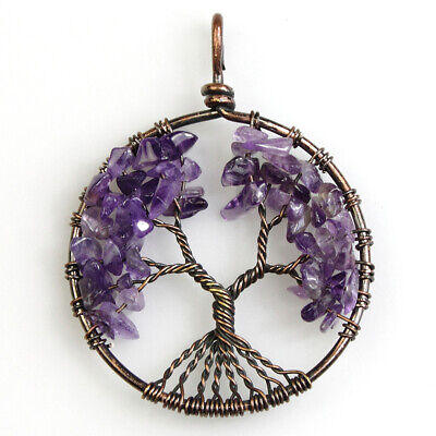 Natural Amethyst Chips Beads Gemstones Tree of Life Chakra Copper Pendant