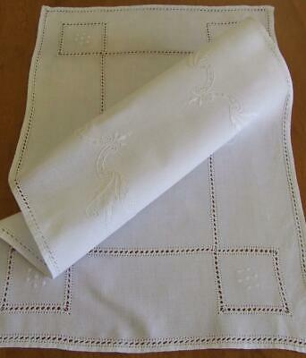 White Linen Embroidered and Drawn Threadwork Centre or Runner