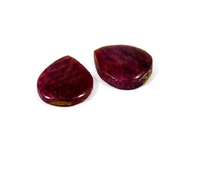 19 Cts. 100% Natural Pair Of Pear Ruby Loose Cabochon Gemstone RRM19172