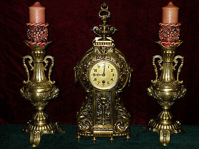 Antique French Brass Watch, Fireplace Clock and Two Candle Holder
