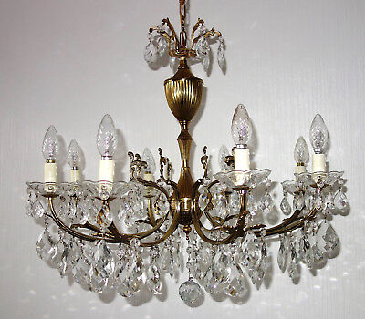 Antique French Brass Crystal Chandelier, Chandelier 8 Lamps
