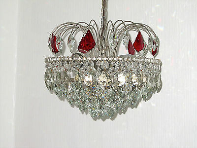 Antique Silver-Plated Brass Lead Glass Chandelier, Chandelier 3 Lamps