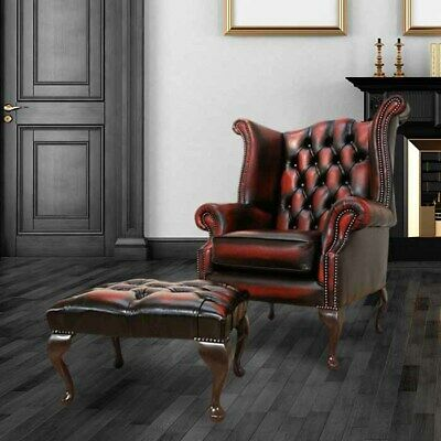 Chesterfield Newby High Back Wing Chair + Footstool Antique Oxblood Real Leather