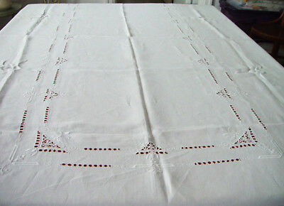 Vintage Off White Linen Tablecloth Embroidery Cutwork stains 64x104 #166
