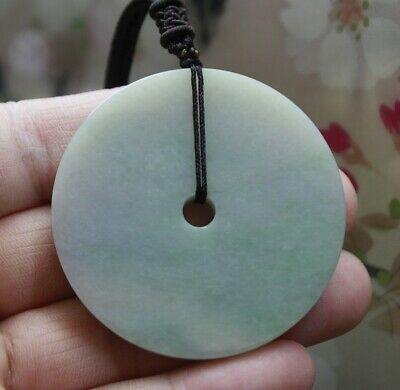 CERTIFIED A Natural Jade Gorgeous Lavender Green Jadeite Circle Donut Pendant