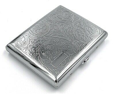 Victorian Style Cigarette Metal Case Double Sided King & 100s Leafy Pattern L