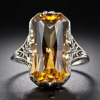 Fashion Citrine Silver Plated Womens Gems Wedding Ring Jewelry Size 6-10 NJ252