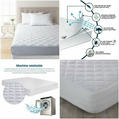 100% Cotton Waterproof Quilted Mattress Bed Protector Topper Fitted Sheet Cover