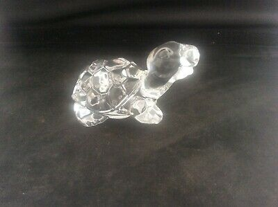 Clear Art Glass Lead Crystal Strolling Tortoise with Raised Leg / Foot MINT 4""
