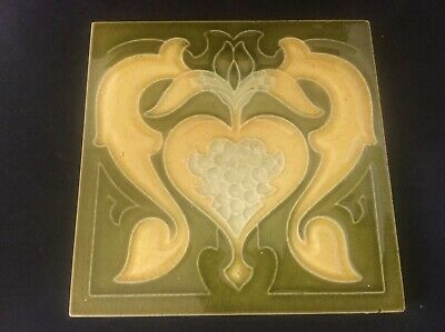 Antique c19th Art Nouveau Majolica Tubelined Tile c1890 Fireplace Maker Unknown4