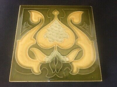 Antique c19th Art Nouveau Majolica Tubelined Tile c1890 Fireplace Maker Unknown