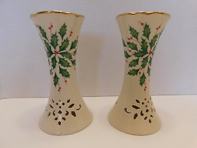 """Lenox HOLIDAY 4 """" Taper Candle Holders Dimension Collection Holly Berry Gold"""