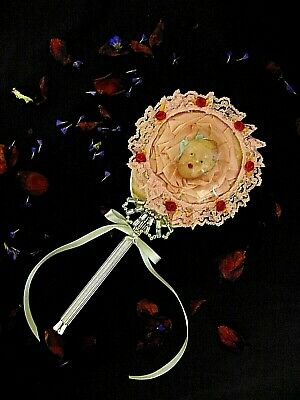 Vintage French Shabby Chic Hand Mirror with Domed Glass Beautiful