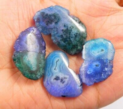 100 Cts. Natural Dyed Multi Solar Druzy Agate Lot Loose Cabochon Gemstone NG6778