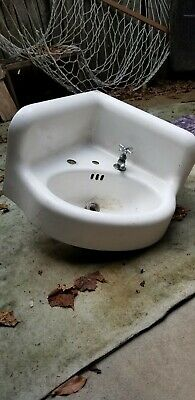 1936 Very Rare Antique Cast Iron White Porcelain Corner Sink, Side Faucet Mount