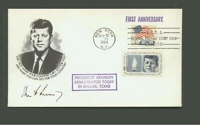1964 Nationl Postage Stamp Show Memorial John F. Kennedy Envelops with Stamps