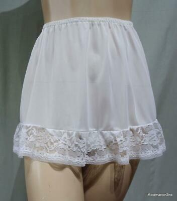 St MICHAEL M&S VINTAGE SILKY SHEER WHITE NYLON LOOSE LEG PANTIES Med