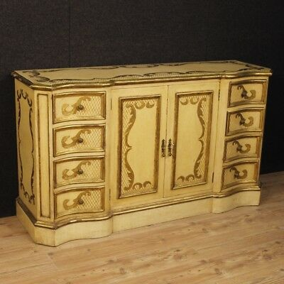 Cupboard Lacquered Drawer Furniture Dresser Italian Wooden Golden Antique Style
