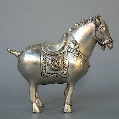 Collect China Old Miao Silver Hand-Carved Ancient Horse Auspicious Decor Statue