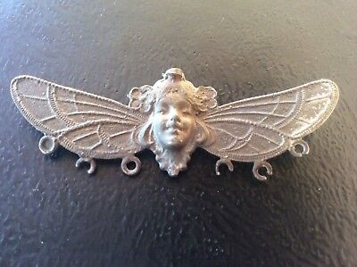c19th Antique Art Nouveau White Metal Pin Brooch Stylised Lady Butterfly Wings 4