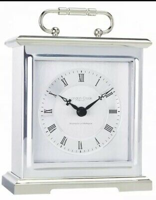 London Clock Co Silver Finish Carriage Clock & Handle Westminster & Whittington