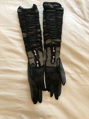 Vintage Sheer Black Opera Gloves With Pearl Buttons - NEW!