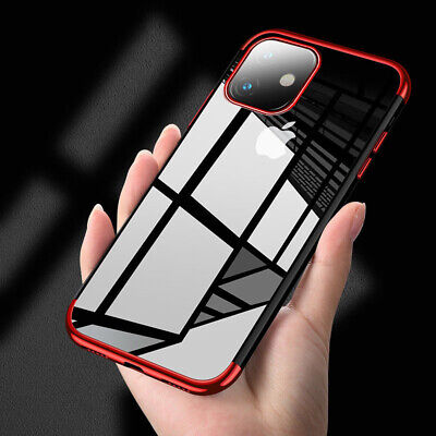 Plating Soft Silicone Hybrid Clear Case Cover For Apple iPhone 11/ 11 Pro Max XR