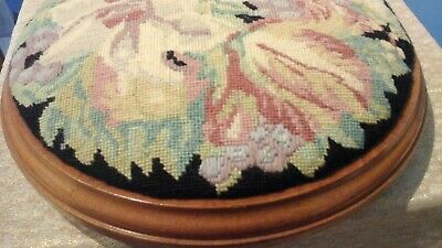 TAPESTRY floral FOOTSTOOL circular wooden base with 3 bun feet