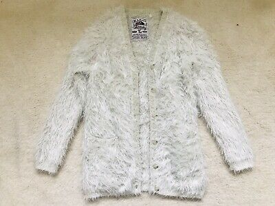 Girls Cream Fluffy Sparkly Long Cardigan Age 8 Years From TU